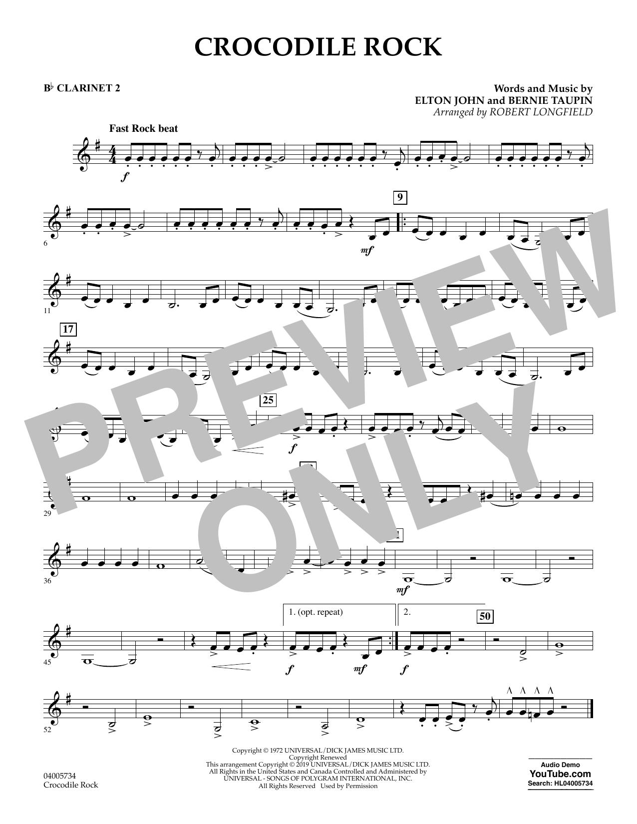 Crocodile Rock (arr. Robert Longfield) - Bb Clarinet 2 (Concert Band)