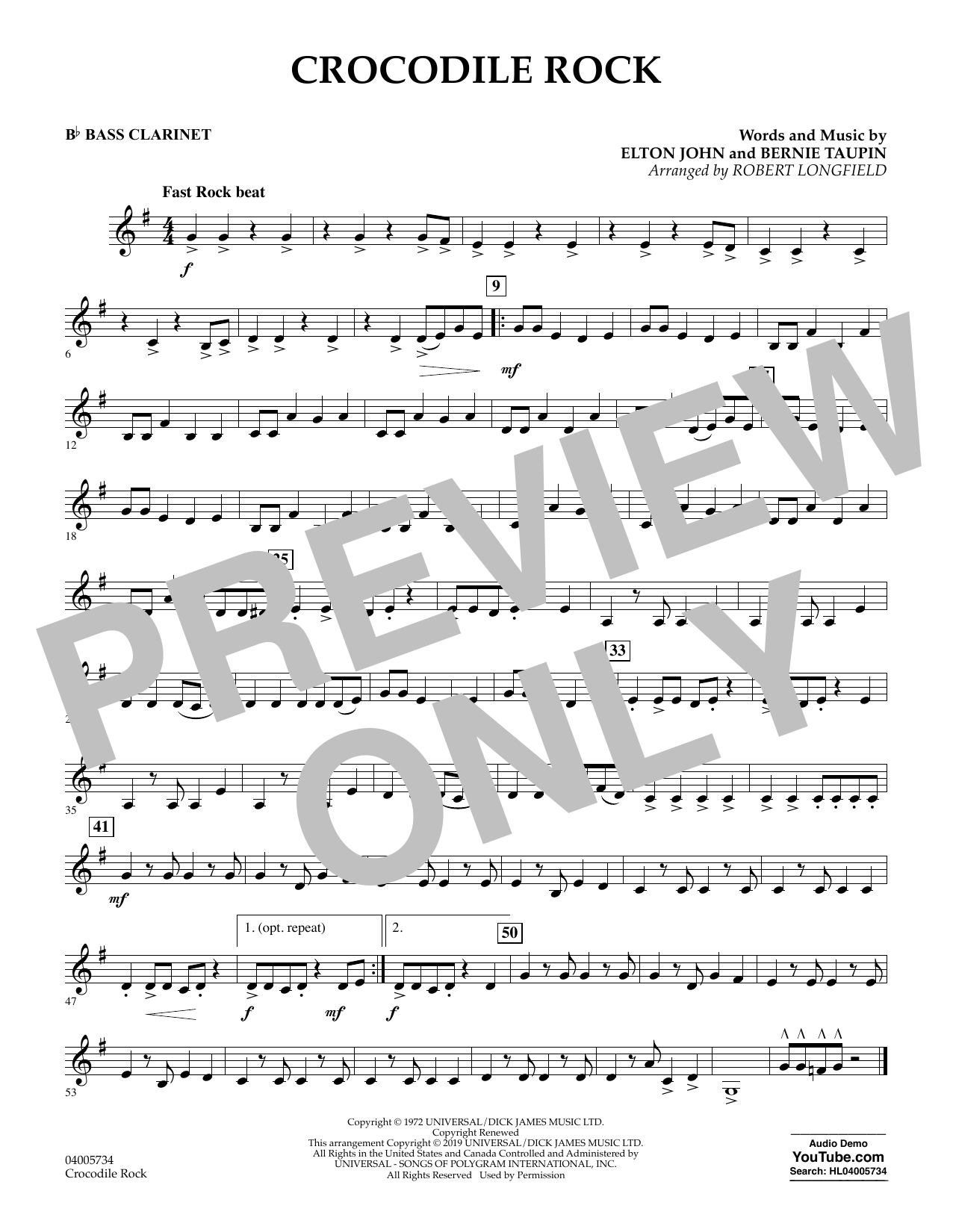 Crocodile Rock (arr. Robert Longfield) - Bb Bass Clarinet (Concert Band)