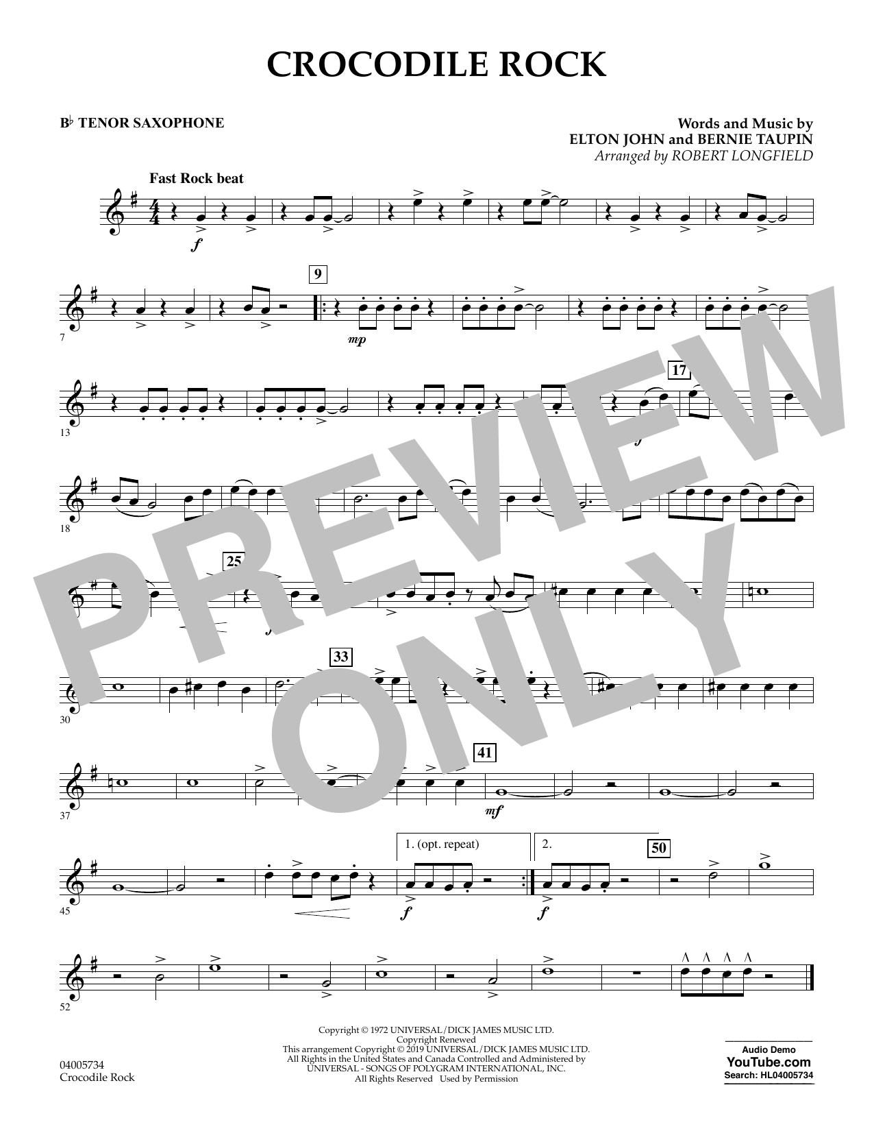 Crocodile Rock (arr. Robert Longfield) - Bb Tenor Saxophone (Concert Band)