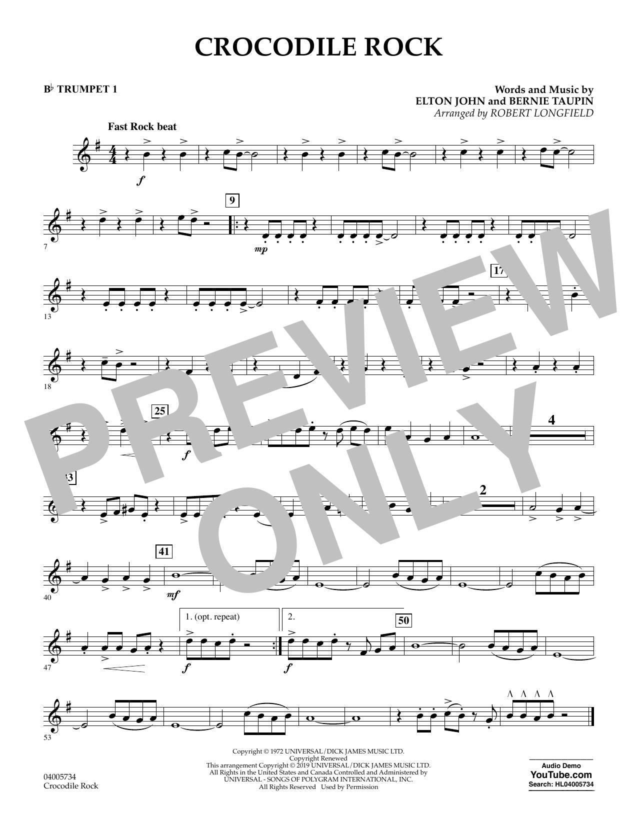 Crocodile Rock (arr. Robert Longfield) - Bb Trumpet 1 (Concert Band)