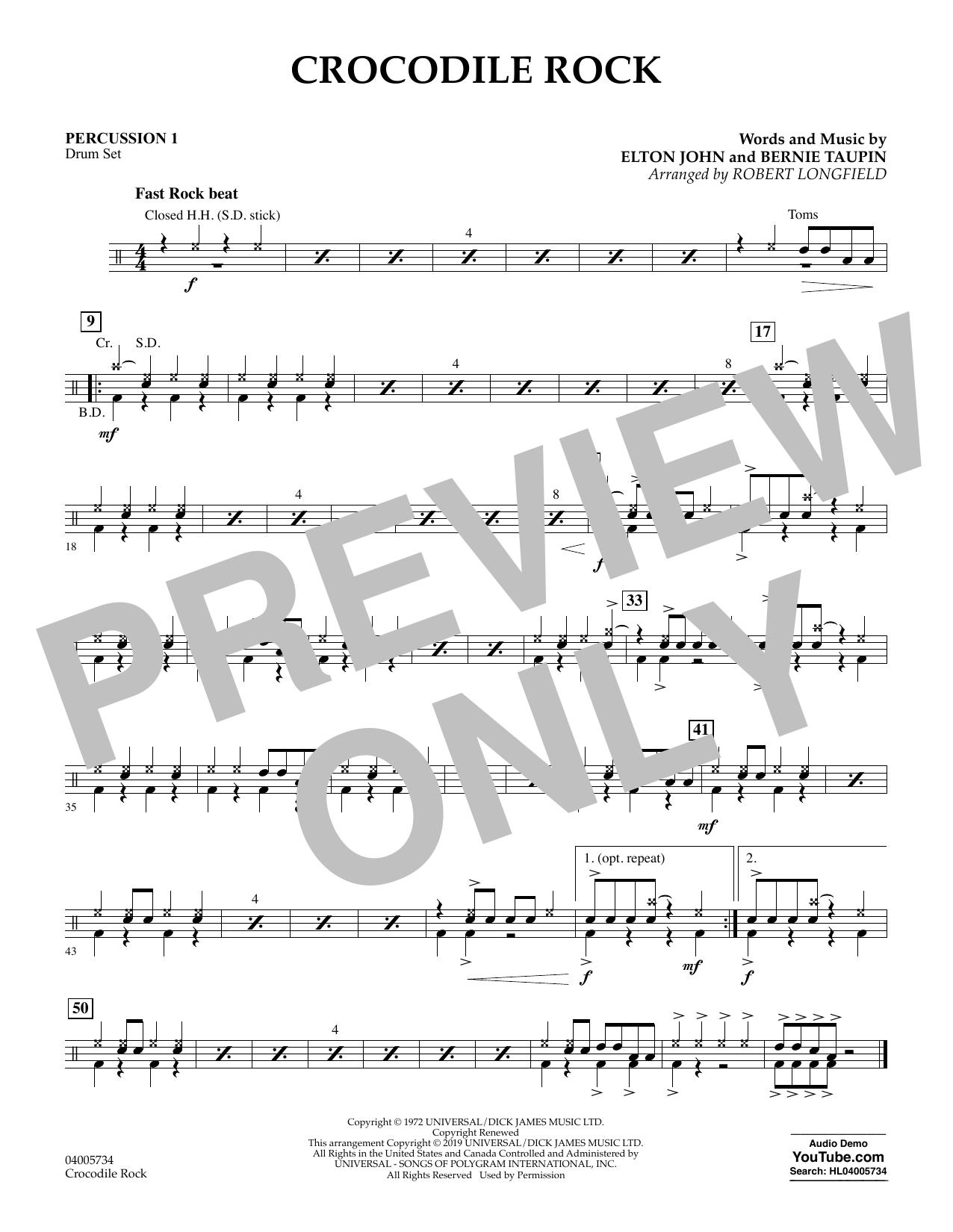 Crocodile Rock (arr. Robert Longfield) - Percussion 1 (Concert Band)