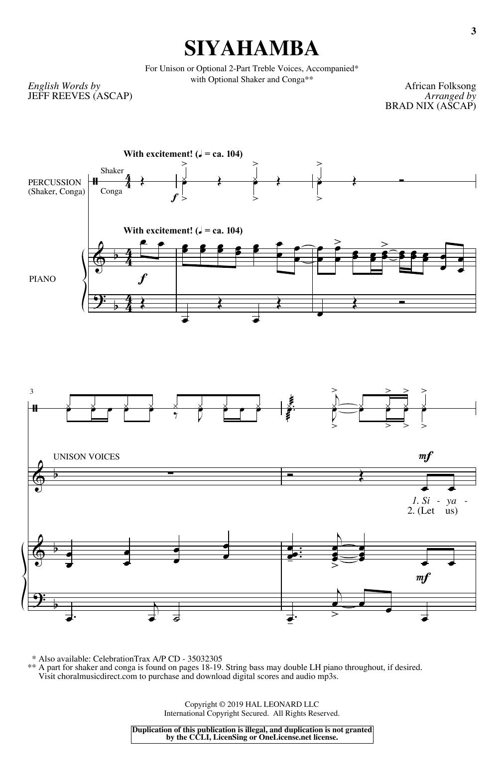 Siyahamba (Unison Choir)