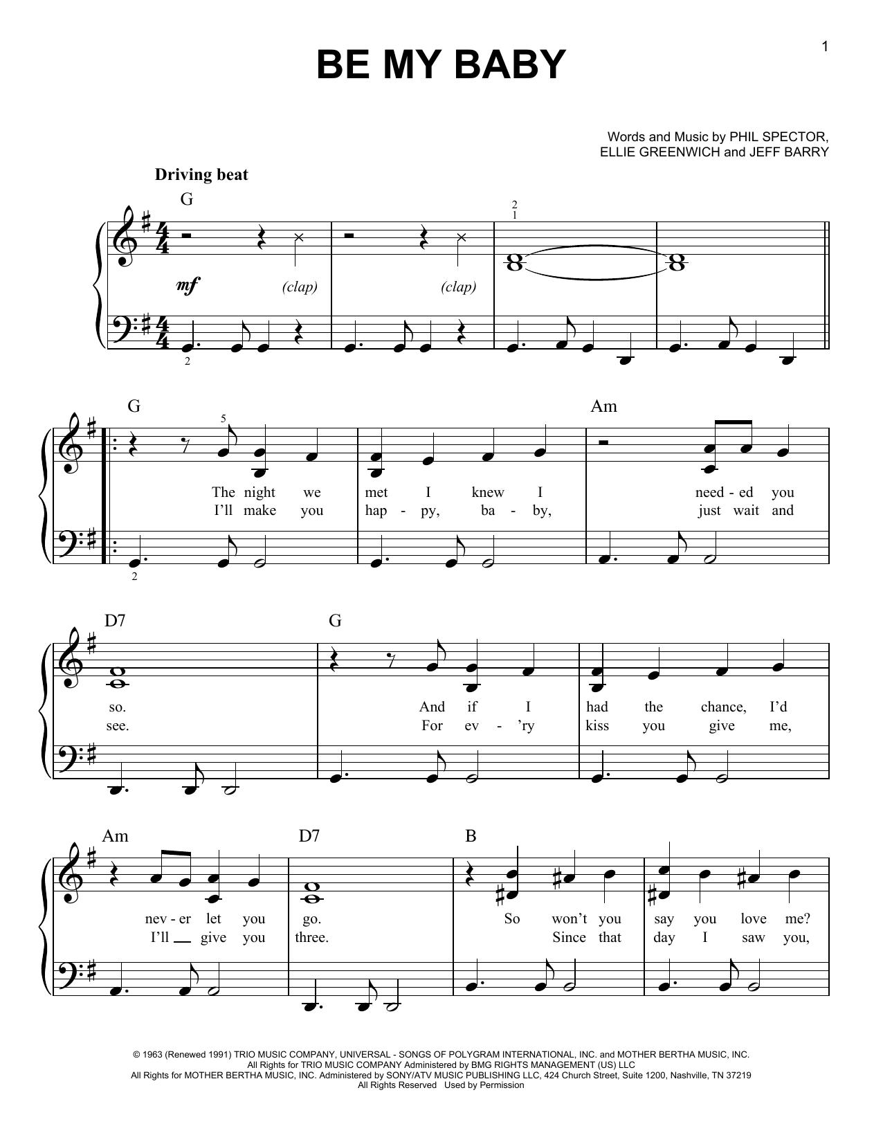 Be My Baby (Easy Piano)