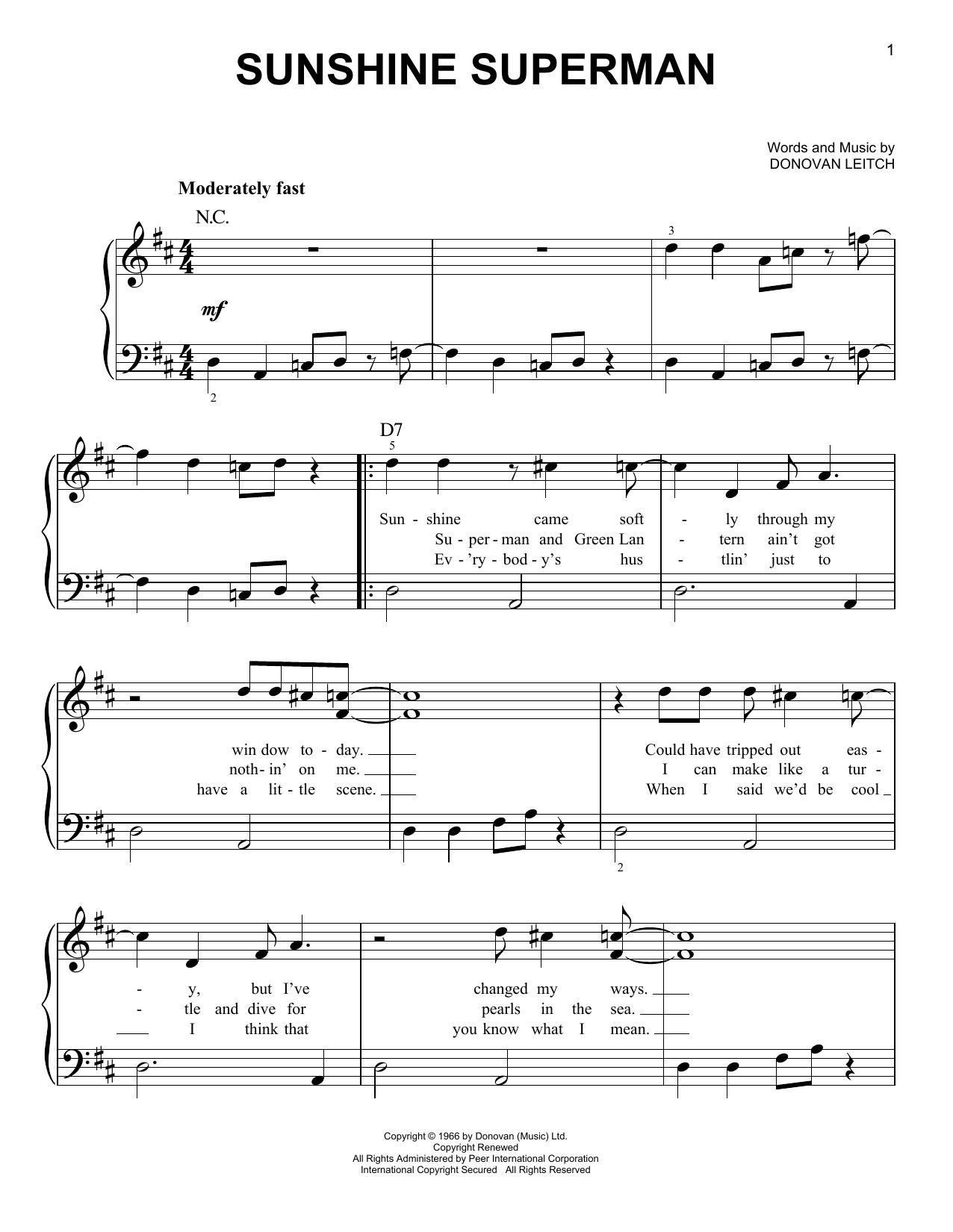 Sunshine Superman (Easy Piano)