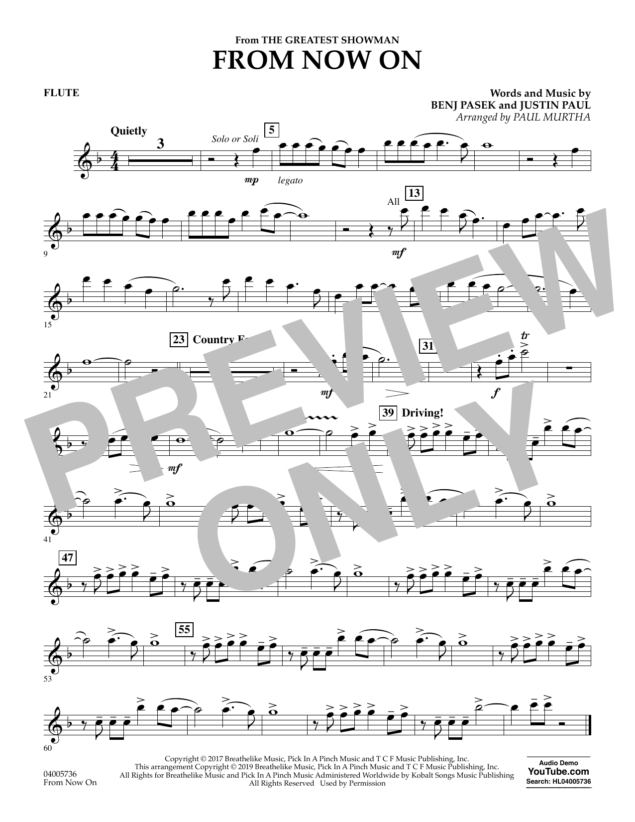 From Now On (from The Greatest Showman) (arr. Paul Murtha) - Flute (Concert Band)