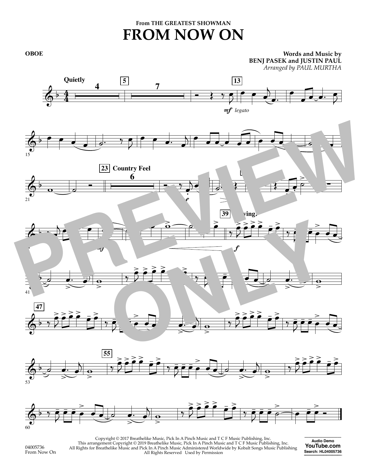 From Now On (from The Greatest Showman) (arr. Paul Murtha) - Oboe (Concert Band)