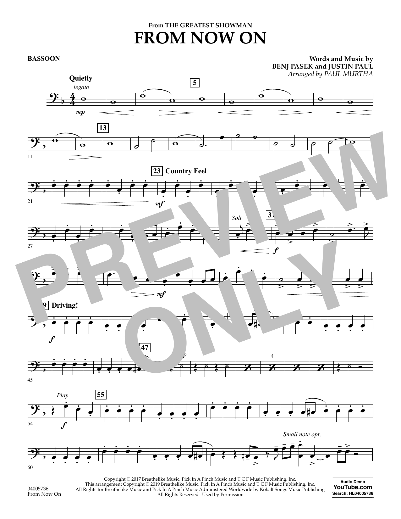 From Now On (from The Greatest Showman) (arr. Paul Murtha) - Bassoon (Concert Band)