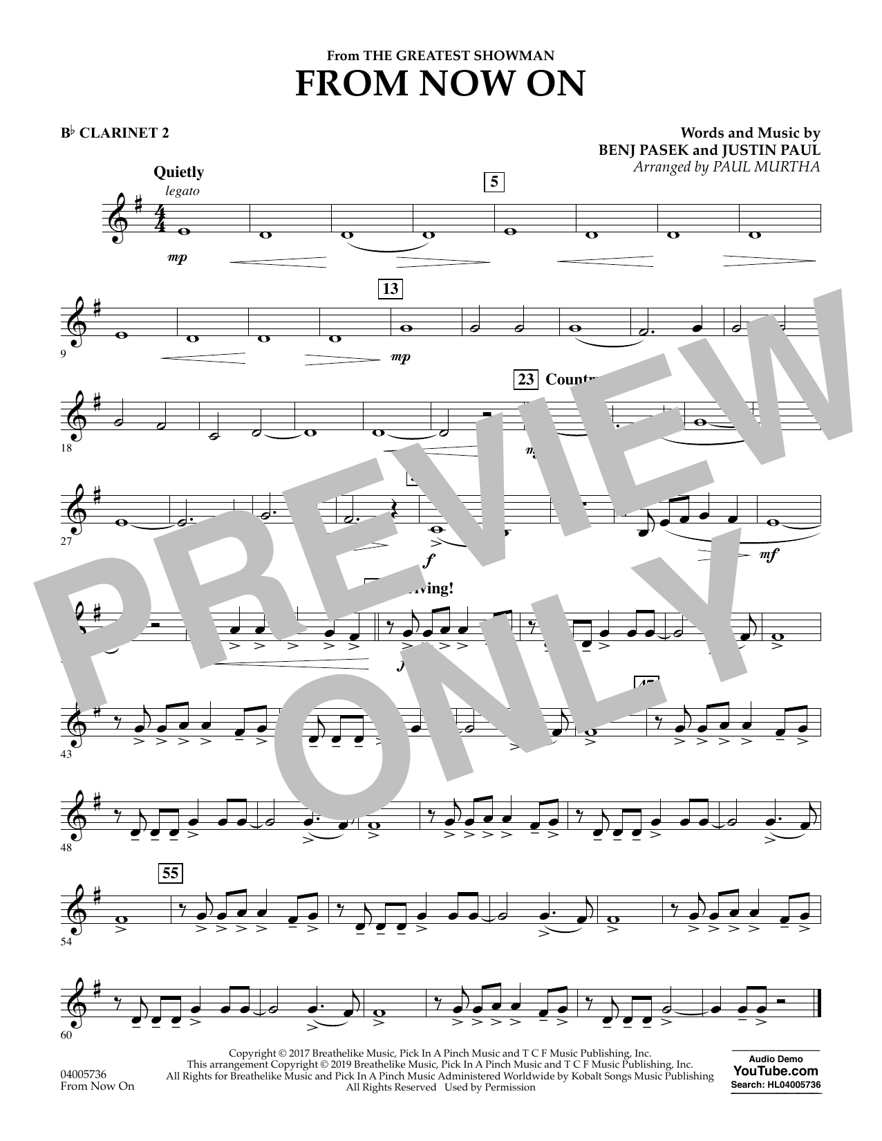 From Now On (from The Greatest Showman) (arr. Paul Murtha) - Bb Clarinet 2 (Concert Band)