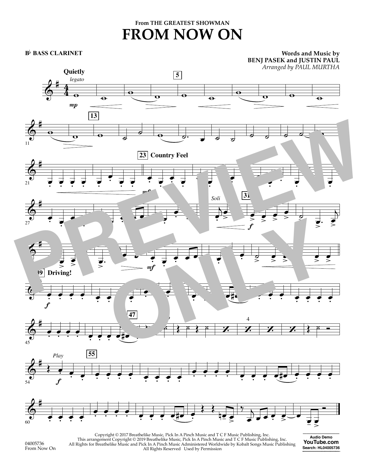 From Now On (from The Greatest Showman) (arr. Paul Murtha) - Bb Bass Clarinet (Concert Band)