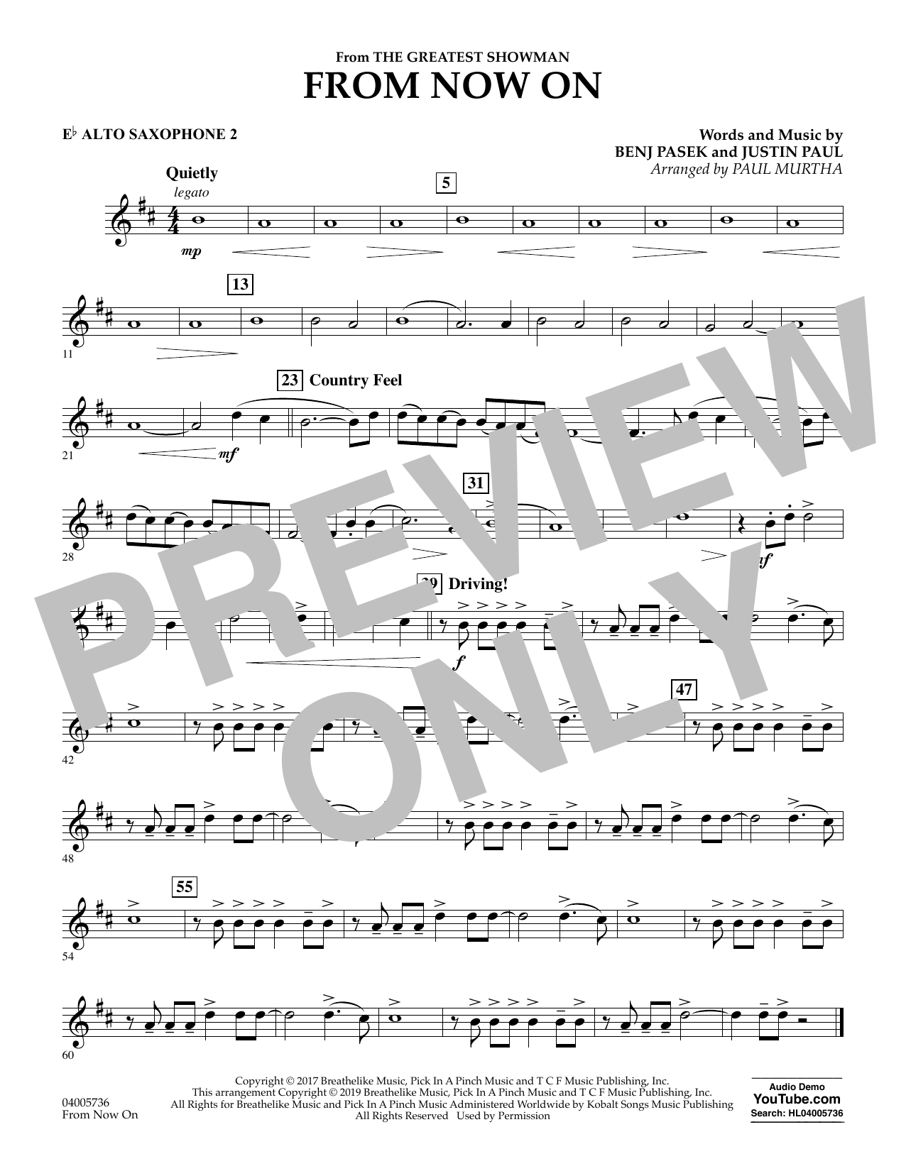 From Now On (from The Greatest Showman) (arr. Paul Murtha) - Eb Alto Saxophone 2 (Concert Band)