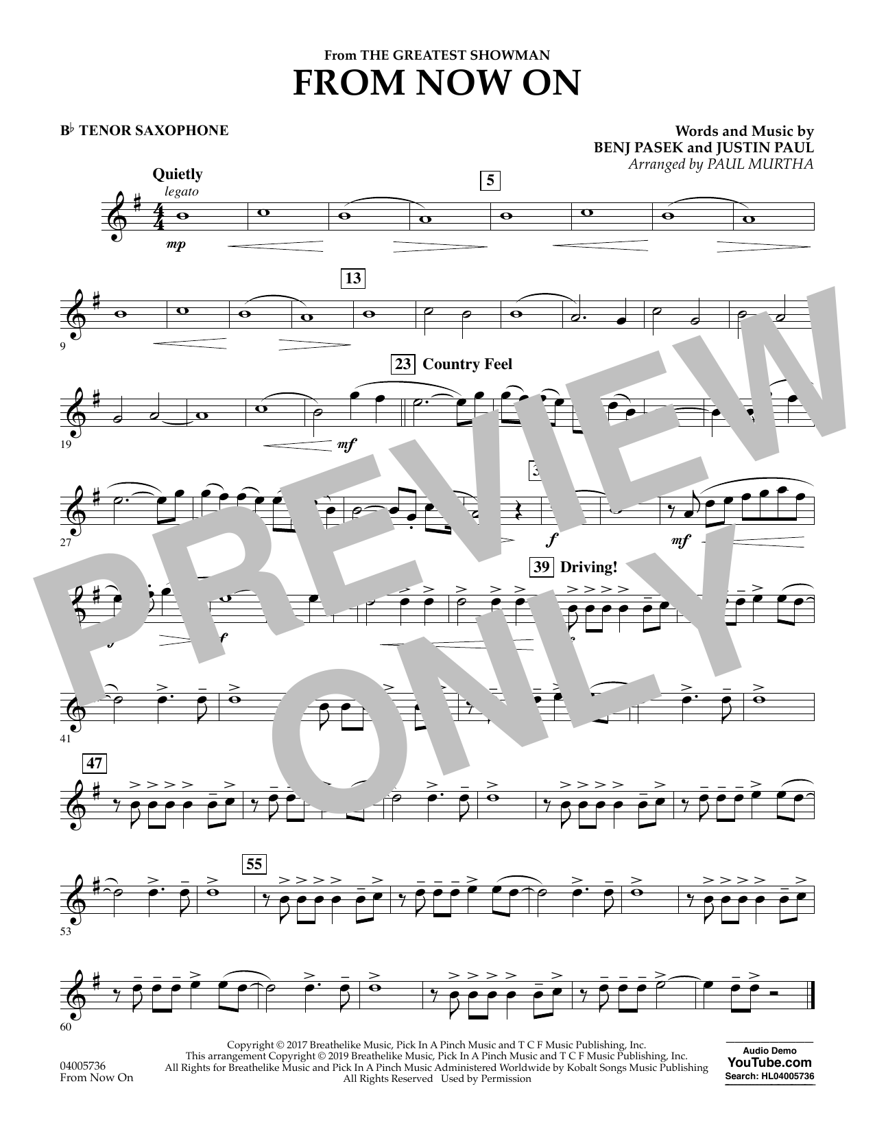 From Now On (from The Greatest Showman) (arr. Paul Murtha) - Bb Tenor Saxophone (Concert Band)