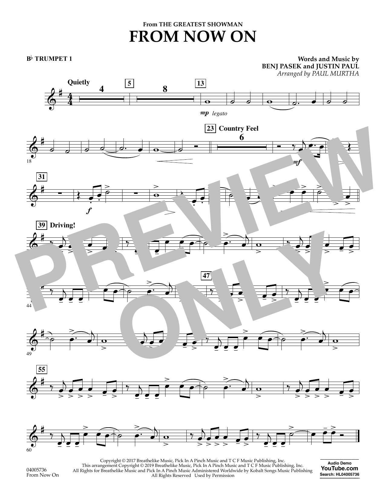 From Now On (from The Greatest Showman) (arr. Paul Murtha) - Bb Trumpet 1 (Concert Band)