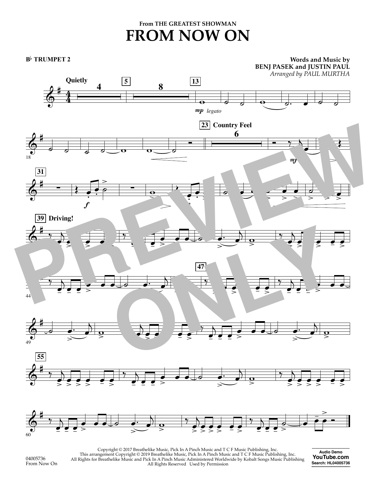 From Now On (from The Greatest Showman) (arr. Paul Murtha) - Bb Trumpet 2 (Concert Band)