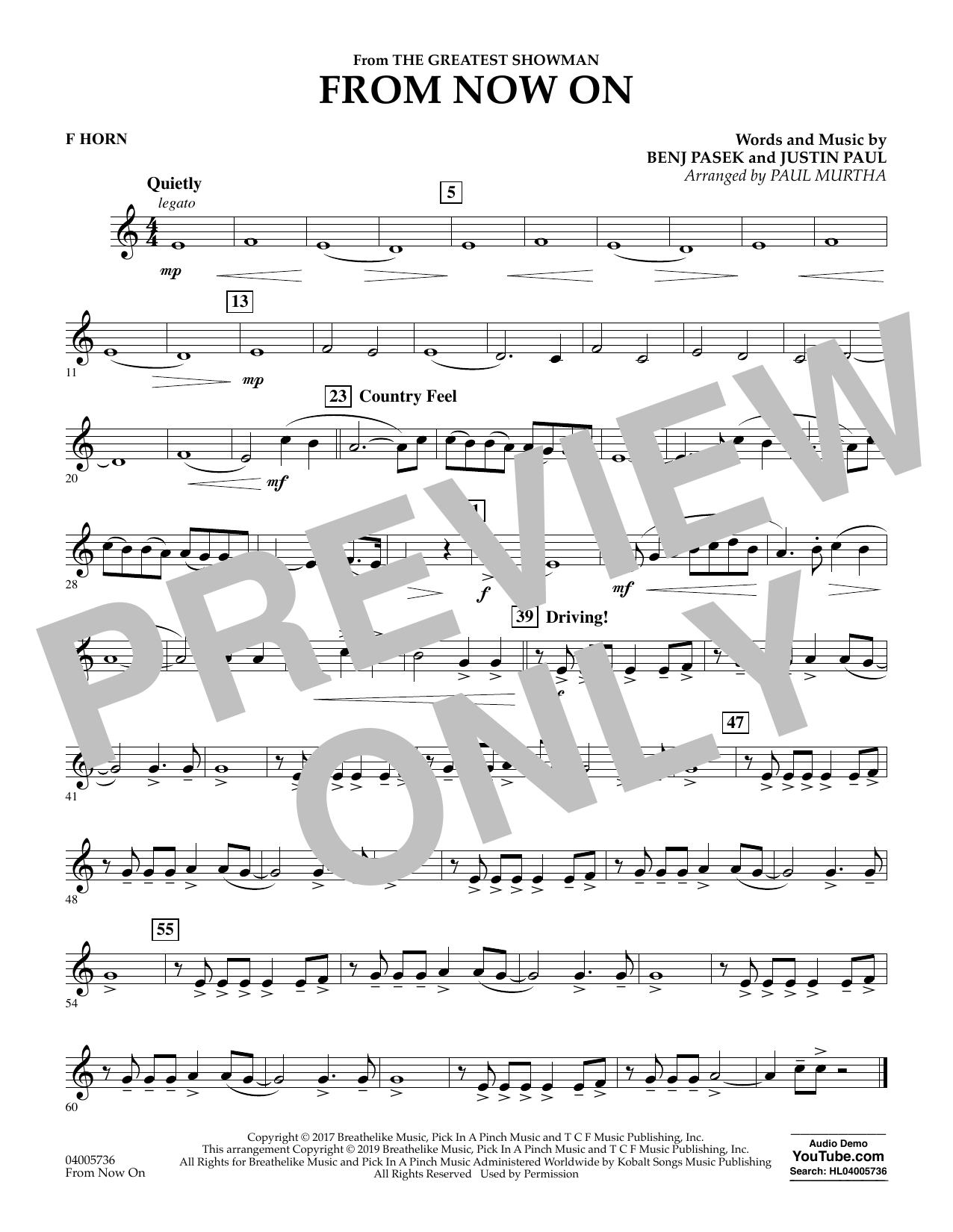 From Now On (from The Greatest Showman) (arr. Paul Murtha) - F Horn (Concert Band)