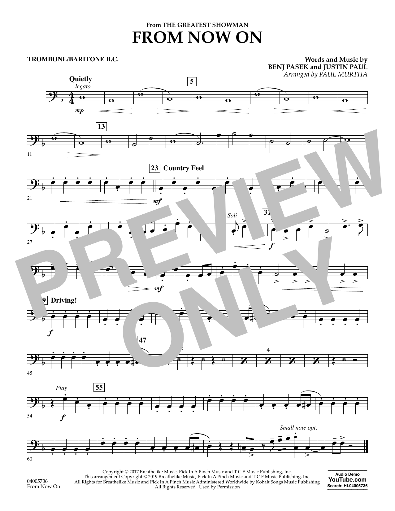 From Now On (from The Greatest Showman) (arr. Paul Murtha) - Trombone/Baritone B.C. (Concert Band)