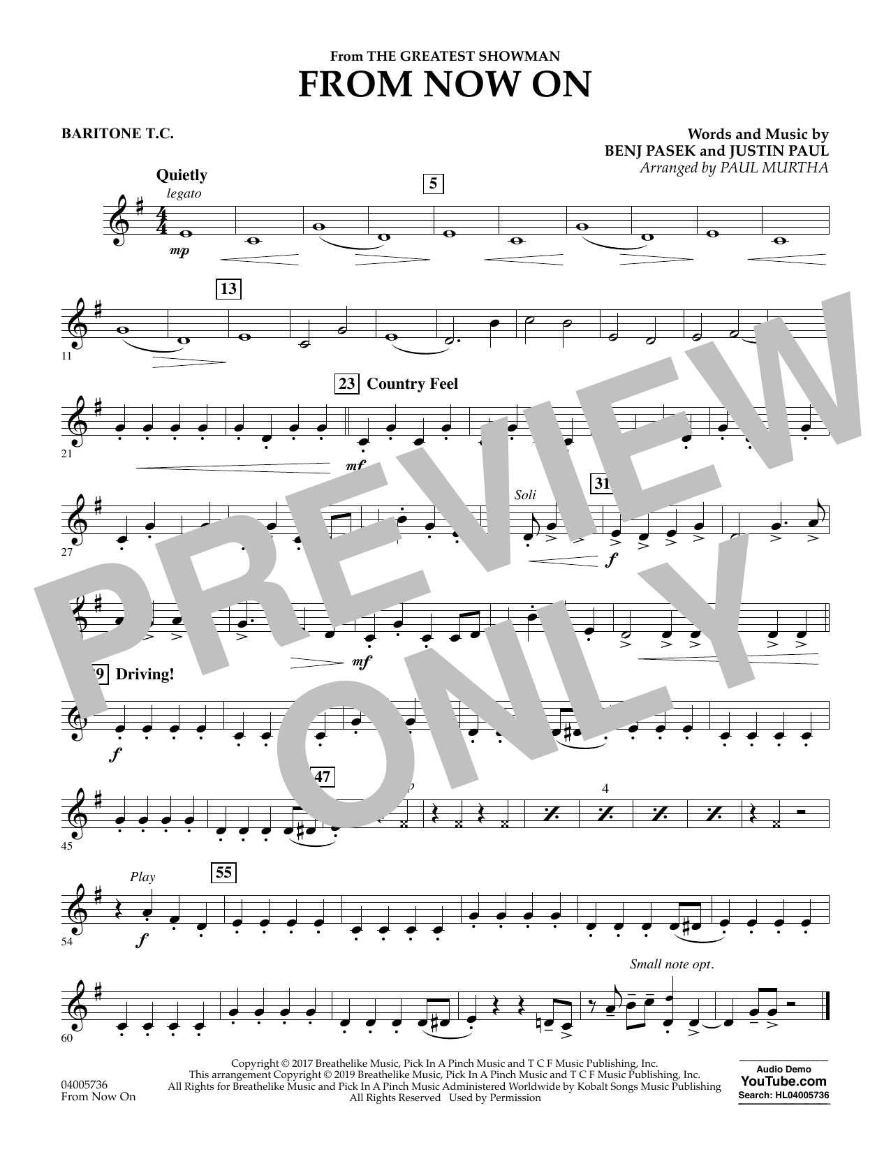 From Now On (from The Greatest Showman) (arr. Paul Murtha) - Baritone T.C. (Concert Band)