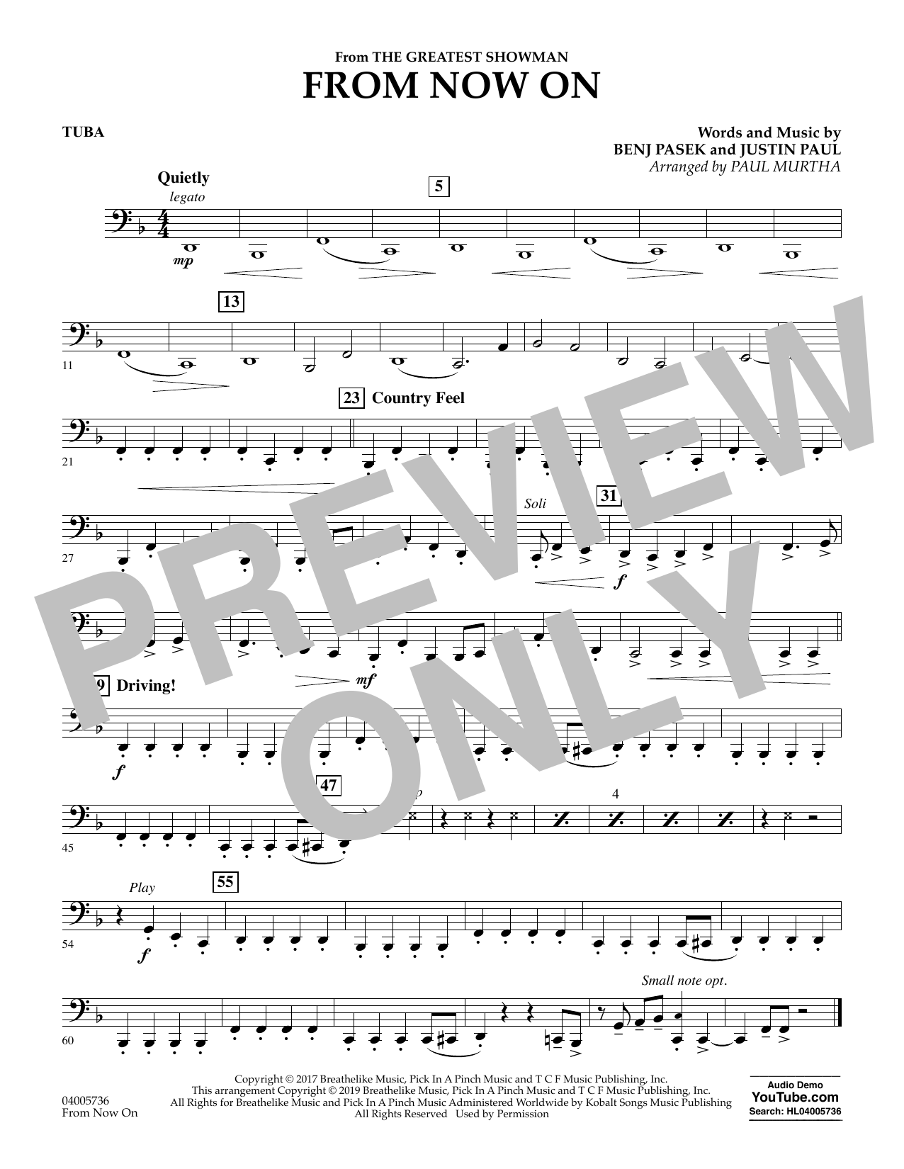 From Now On (from The Greatest Showman) (arr. Paul Murtha) - Tuba (Concert Band)