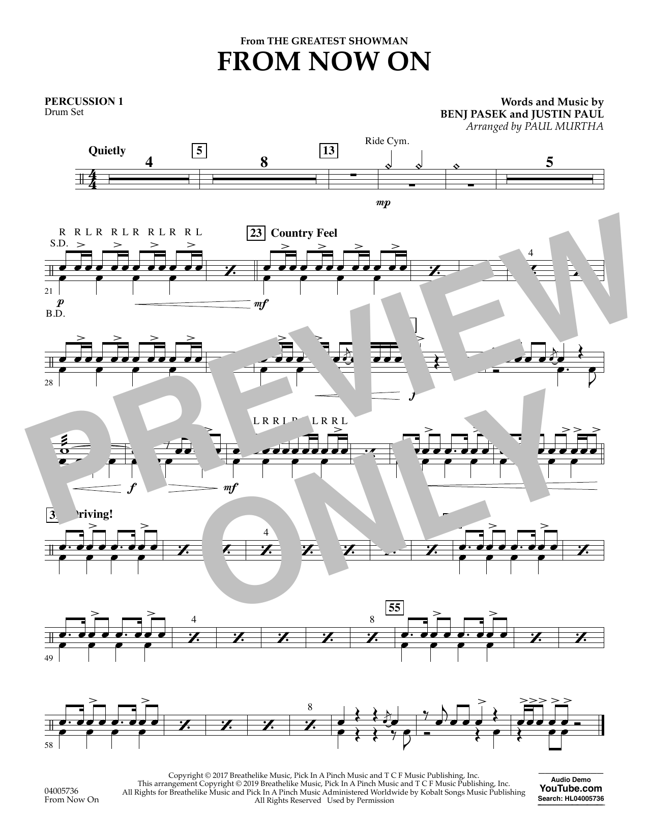 From Now On (from The Greatest Showman) (arr. Paul Murtha) - Percussion 1 (Concert Band)