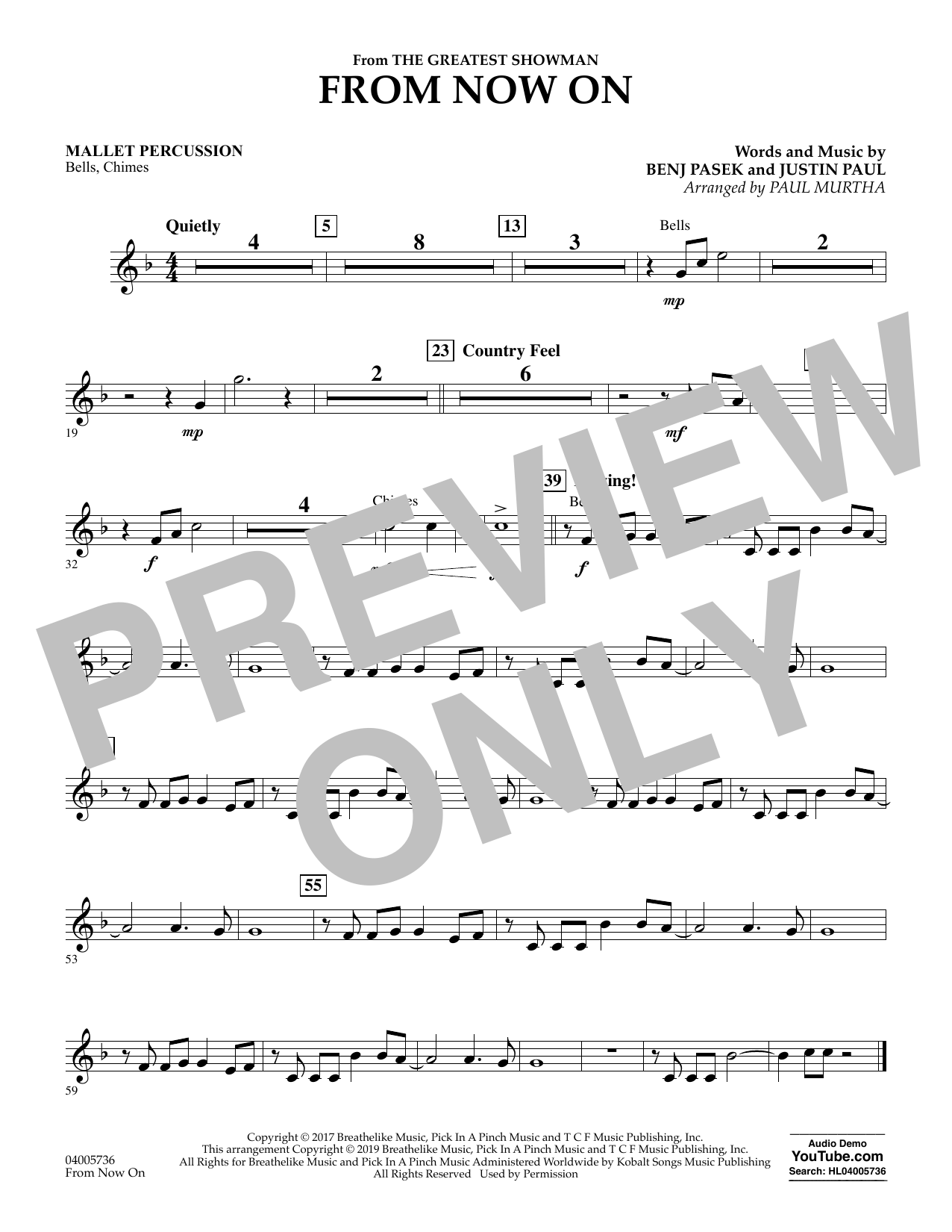 From Now On (from The Greatest Showman) (arr. Paul Murtha) - Mallet Percussion (Concert Band)