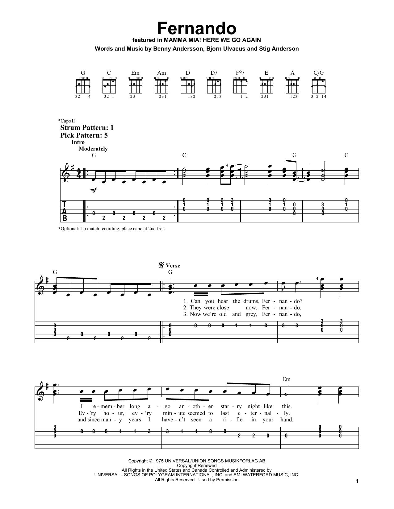 Fernando (from Mamma Mia! Here We Go Again) (Easy Guitar Tab)