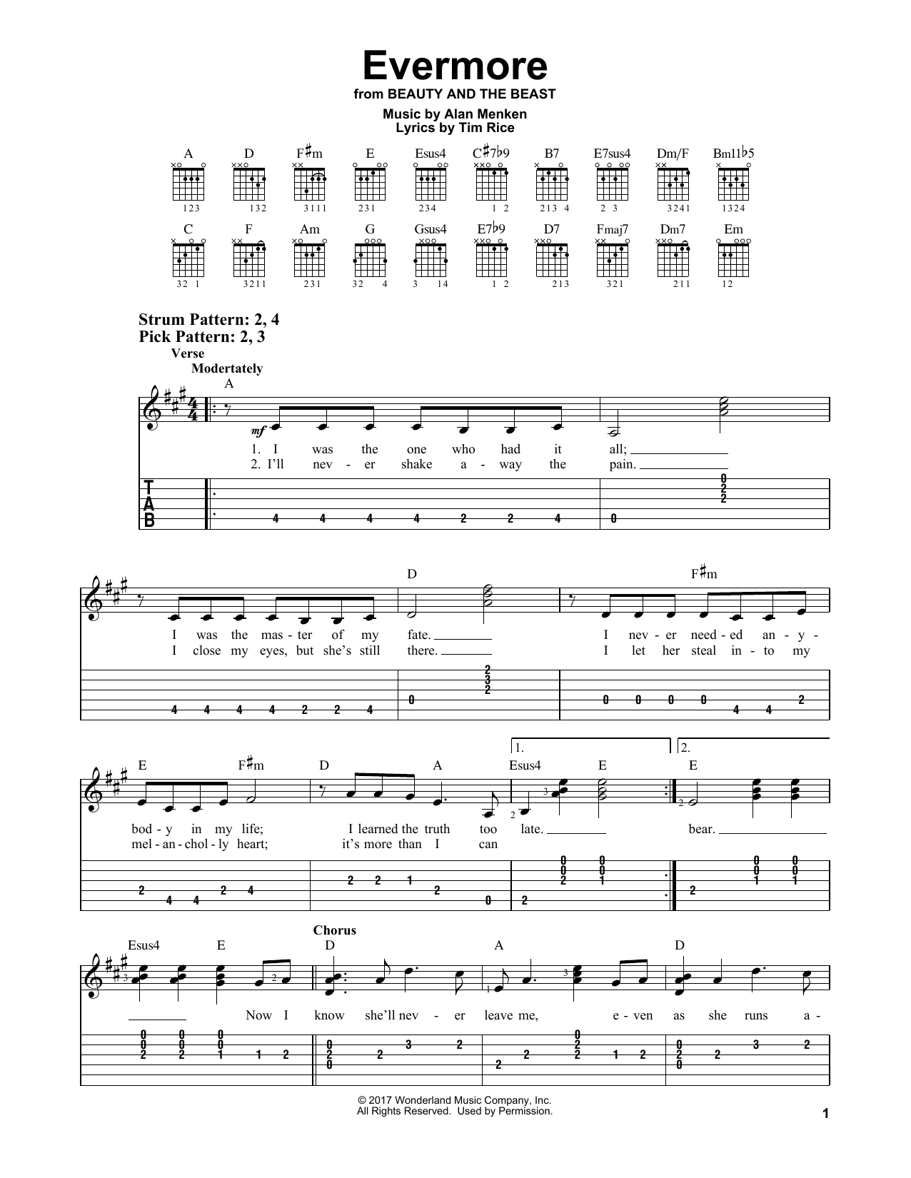 Evermore (from Beauty and the Beast) (Easy Guitar Tab)