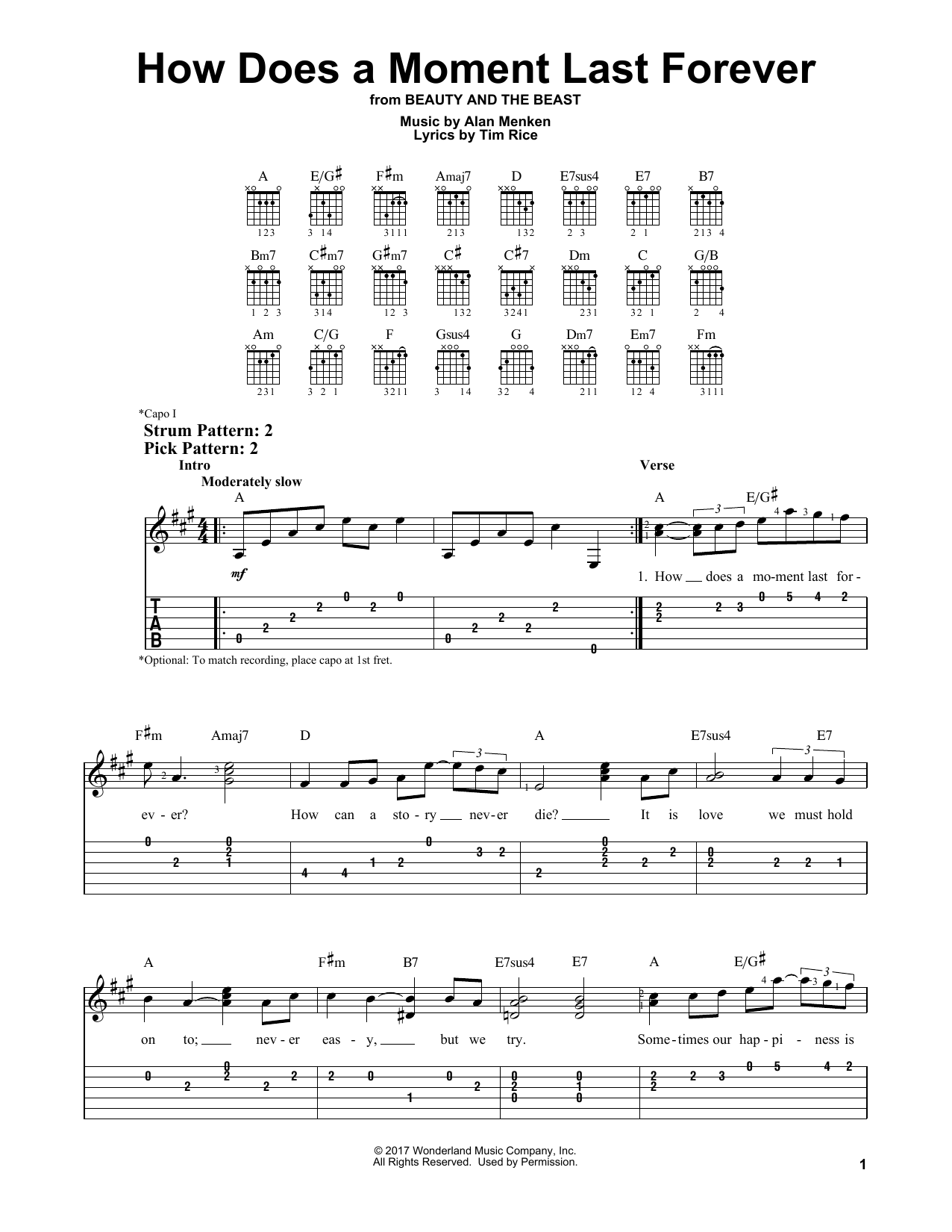 How Does A Moment Last Forever (from Beauty and the Beast) (Easy Guitar Tab)