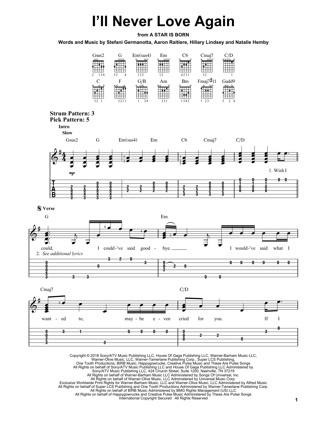 I'll Never Love Again (from A Star Is Born) (Easy Guitar Tab)