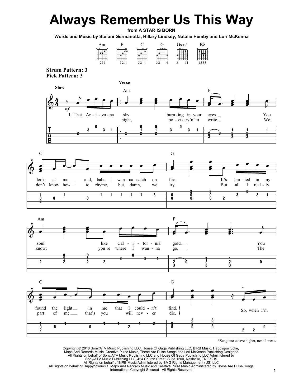 Always Remember Us This Way (from A Star Is Born) (Easy Guitar Tab)