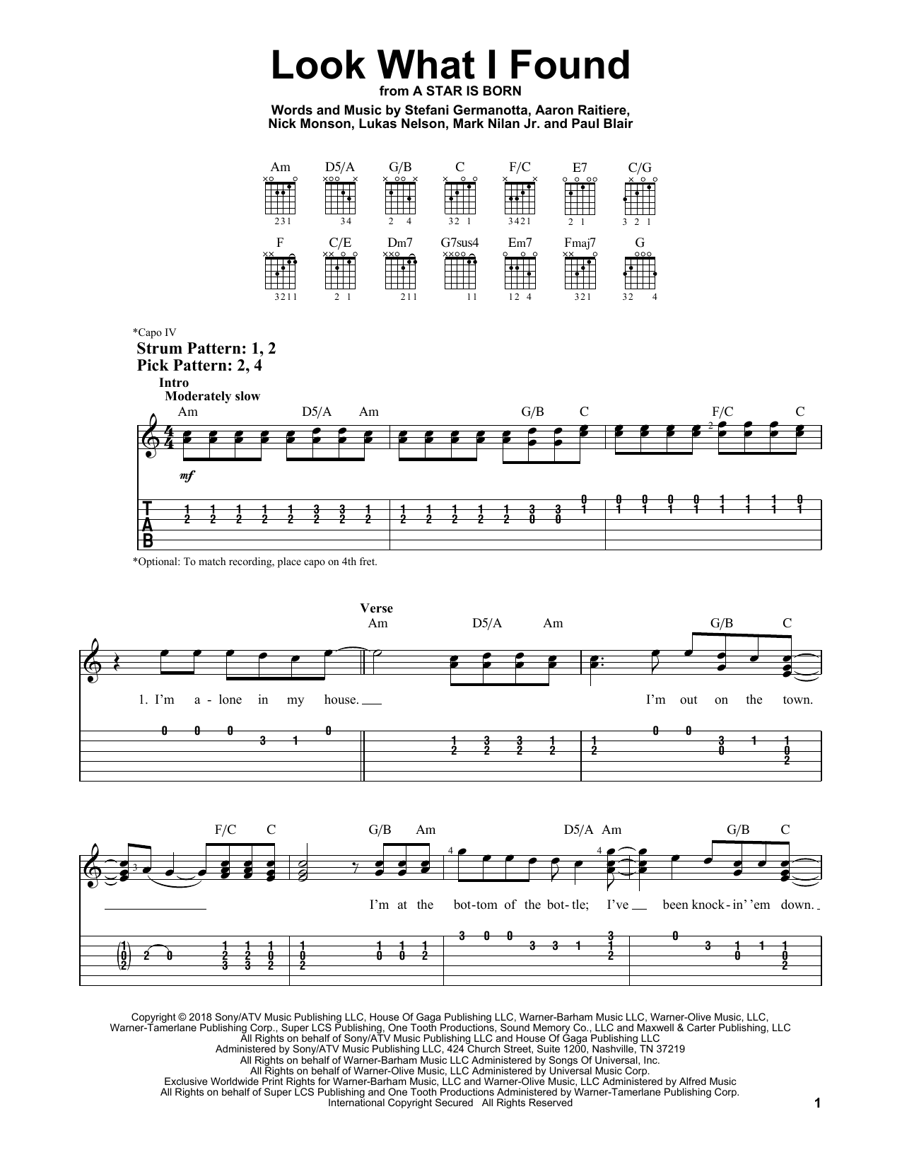 Look What I Found (from A Star Is Born) (Easy Guitar Tab)
