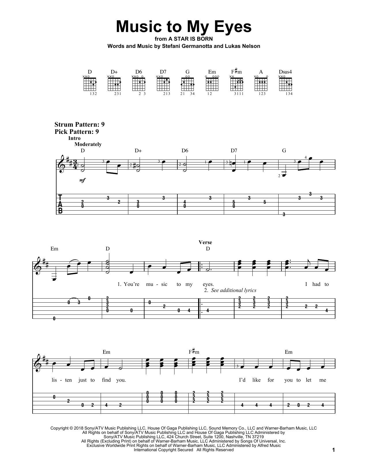 Music To My Eyes (from A Star Is Born) (Easy Guitar Tab)