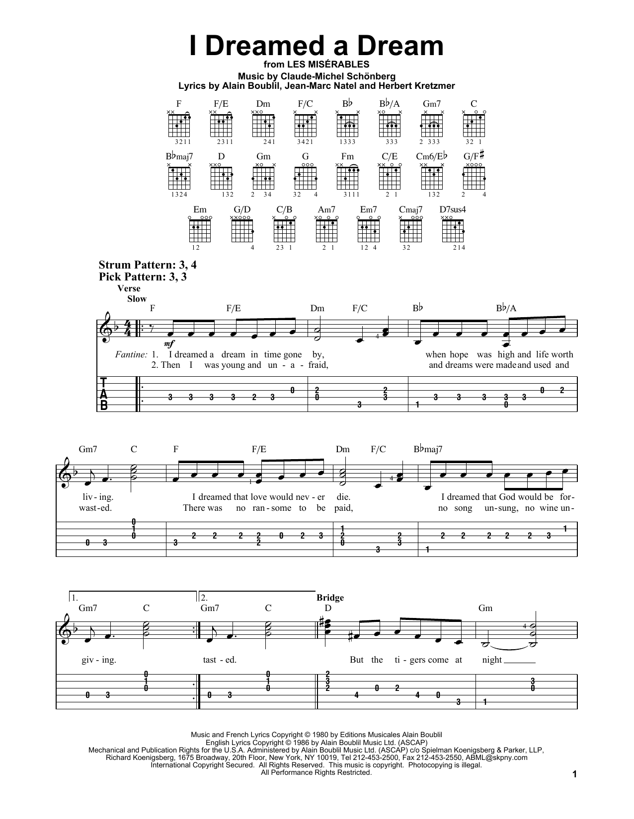 I Dreamed A Dream (from Les Miserables) (Easy Guitar Tab) - Print Now