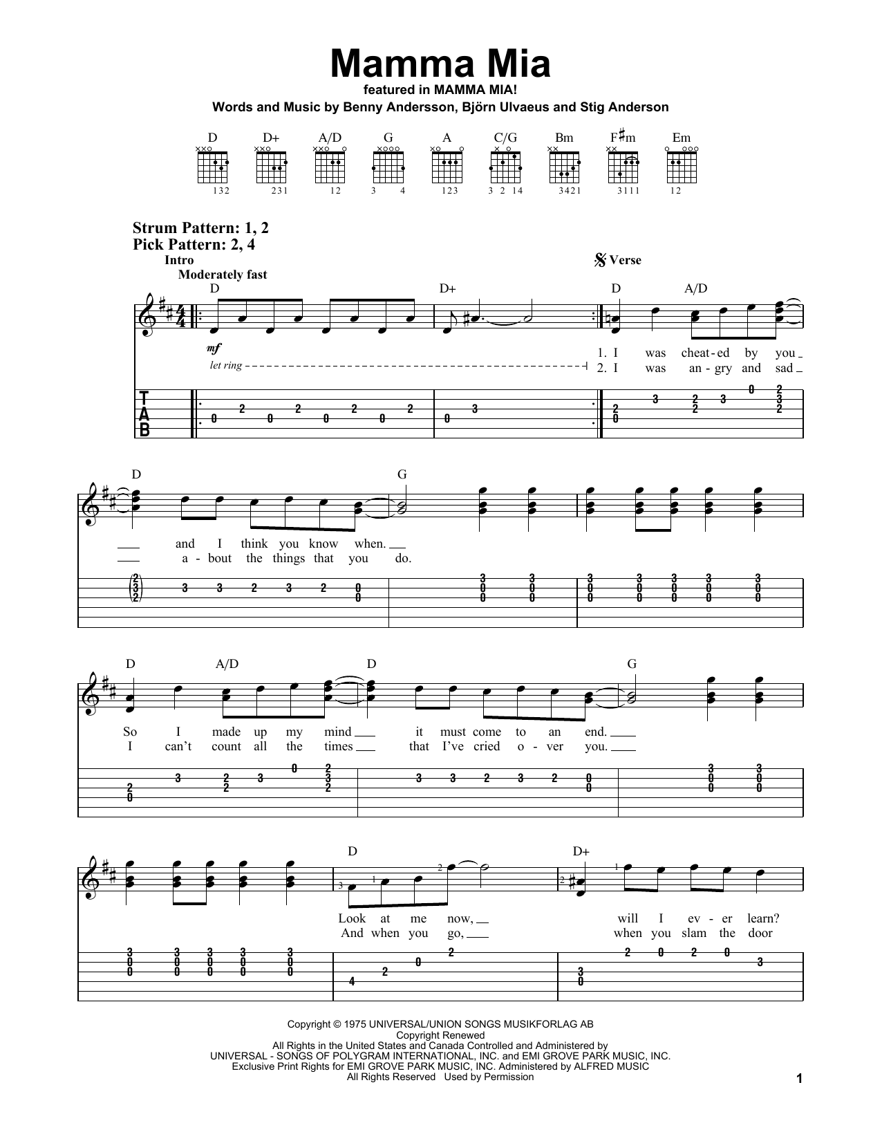 Mamma Mia (from Mamma Mia! Here We Go Again) (Easy Guitar Tab)