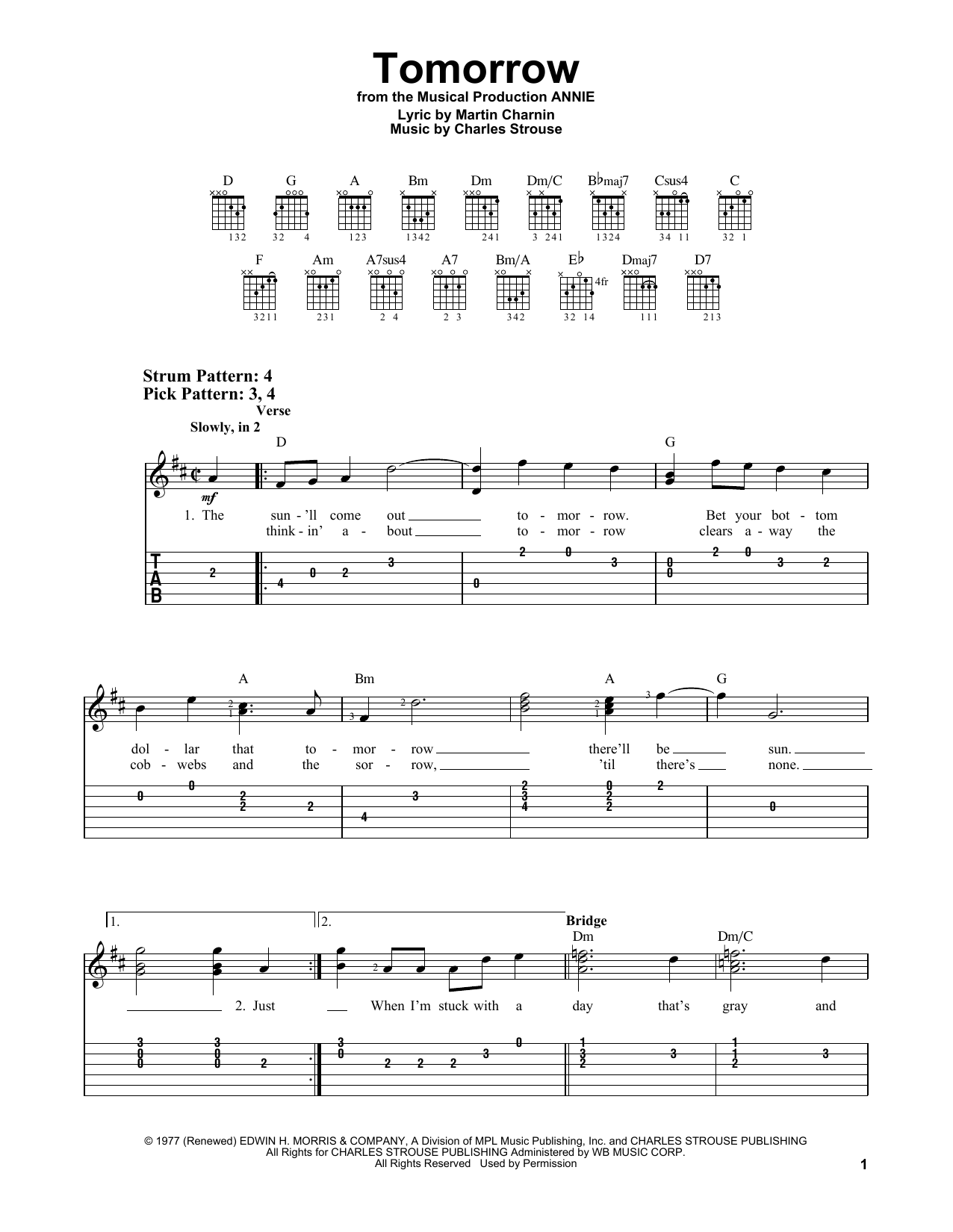 Tomorrow (from Annie) (Easy Guitar Tab)