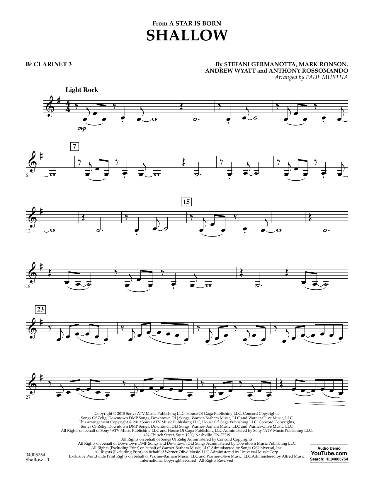 Shallow (from A Star Is Born) (arr  Paul Murtha) - Bb Clarinet 3 by Lady  Gaga & Bradley Cooper Concert Band Digital Sheet Music