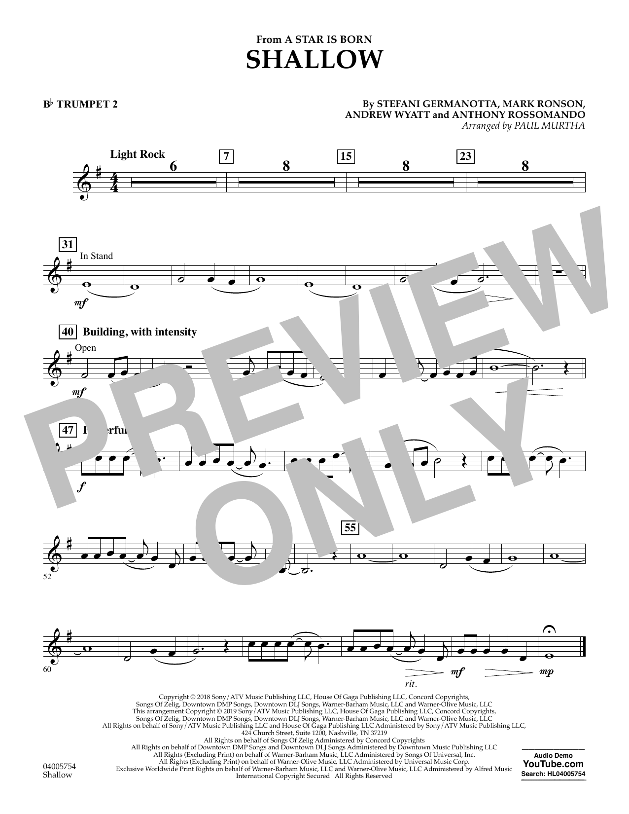 Shallow (from A Star Is Born) (arr. Paul Murtha) - Bb Trumpet 2 (Concert Band)