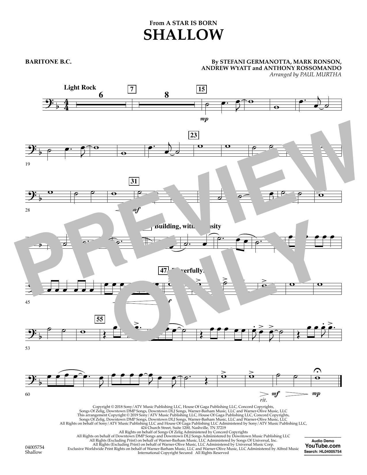 Shallow (from A Star Is Born) (arr. Paul Murtha) - Baritone B.C. (Concert Band)