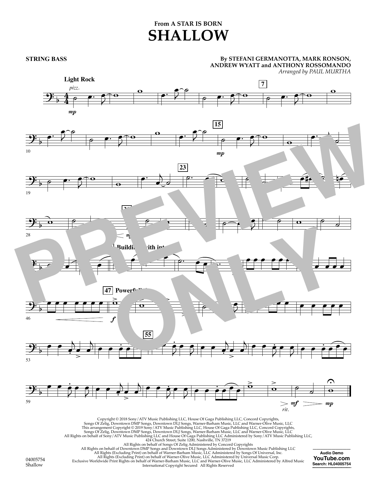 Shallow (from A Star Is Born) (arr. Paul Murtha) - Bass (Concert Band)