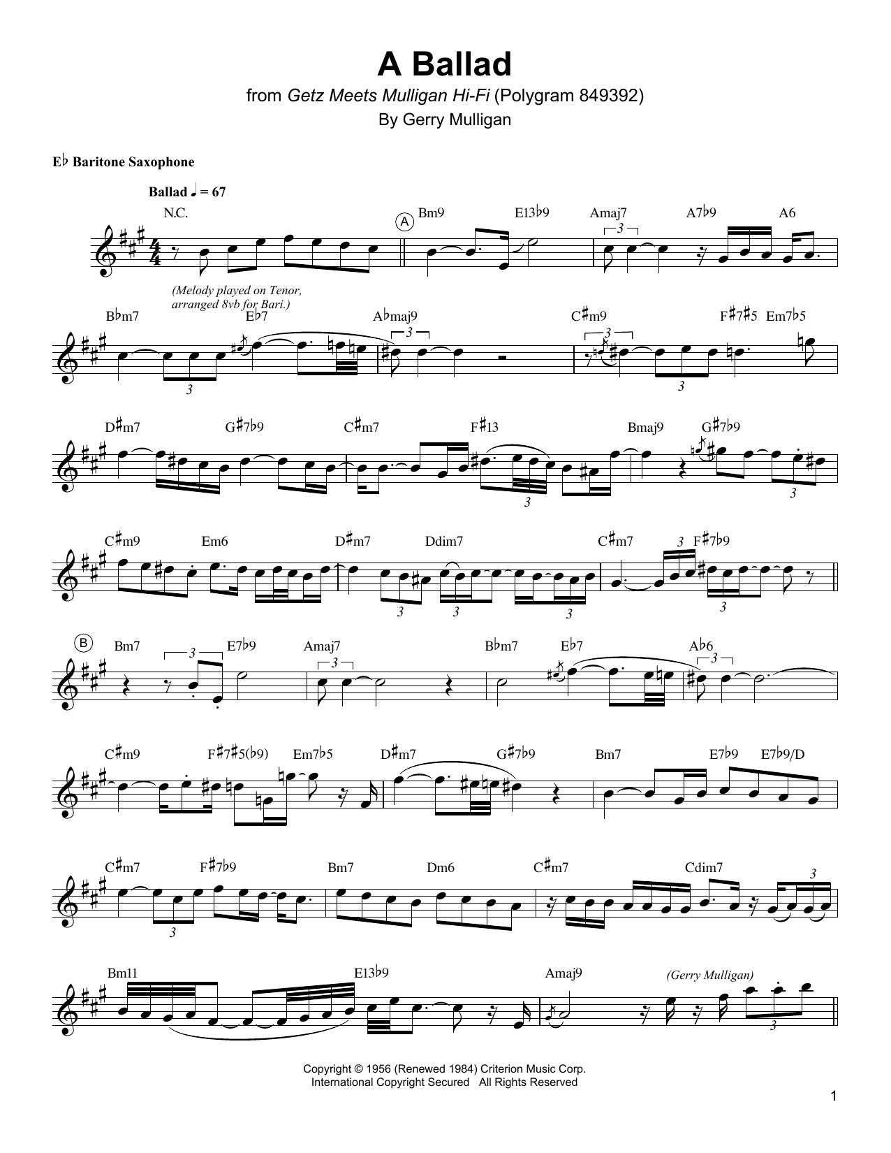 A Ballad Sheet Music