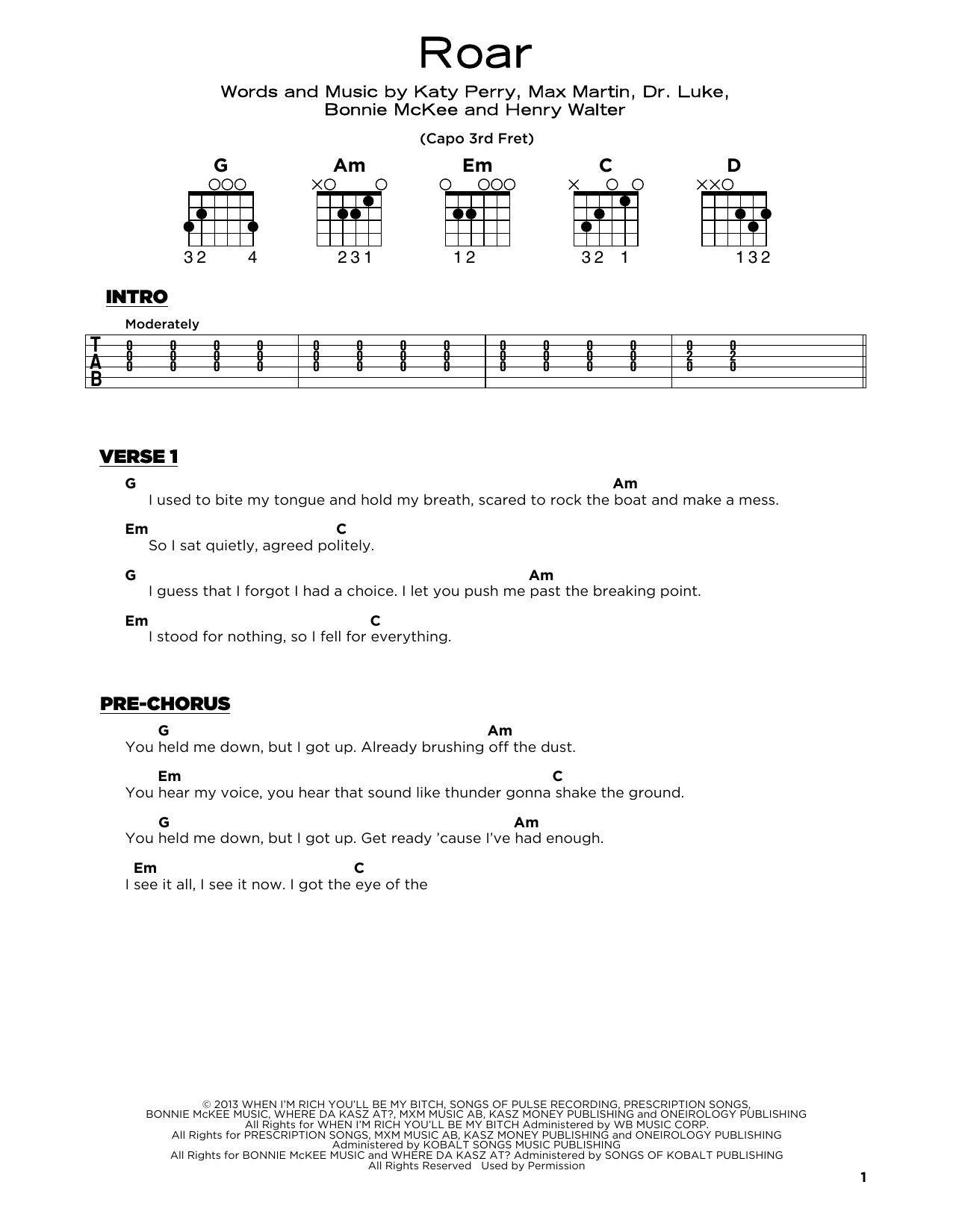 Roar (Really Easy Guitar)