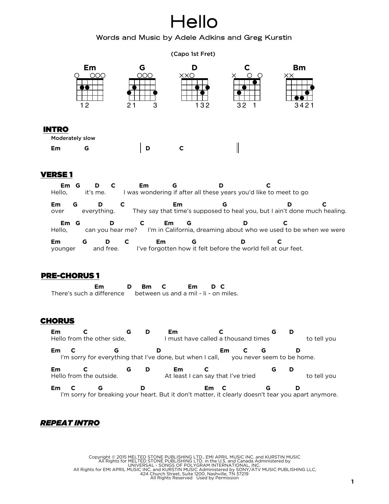 Hello (Really Easy Guitar)