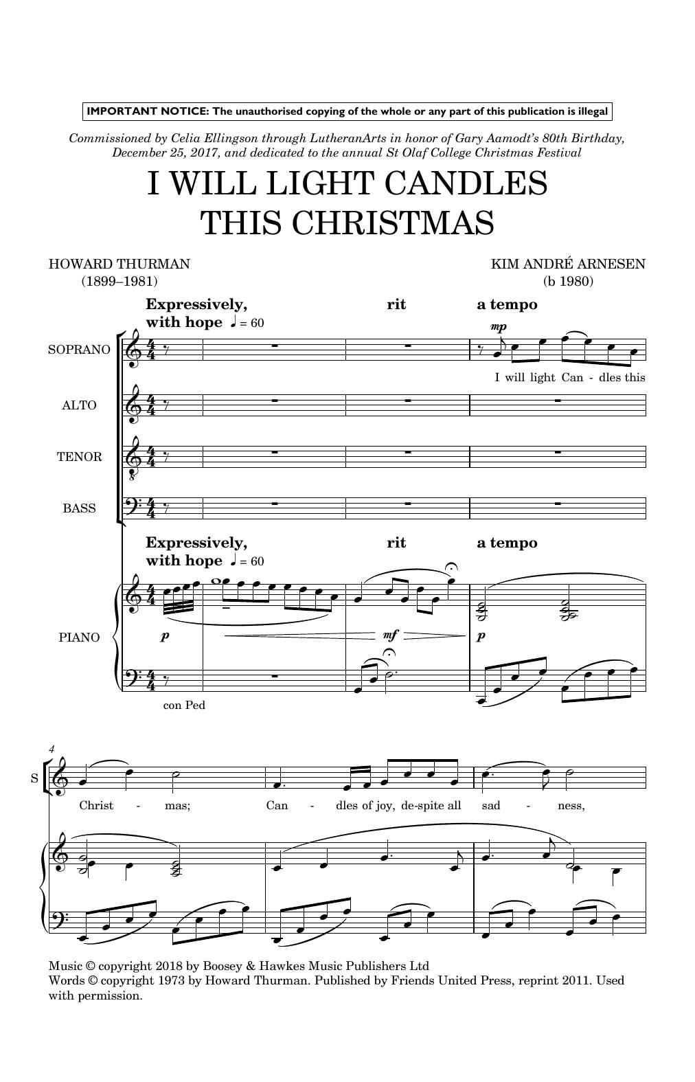 I Will Light Candles This Christmas (SATB Choir)