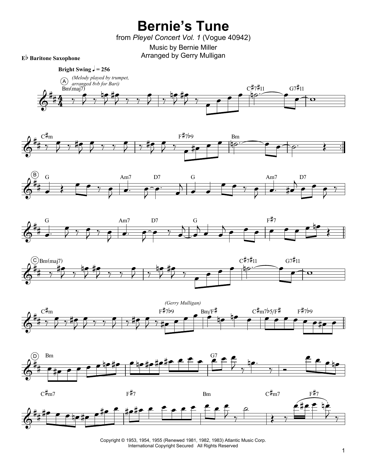Bernie's Tune Sheet Music