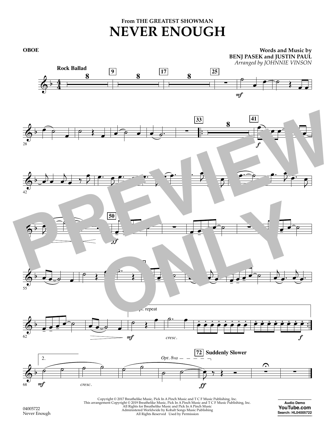 Never Enough (from The Greatest Showman) (arr. Johnnie Vinson) - Oboe (Concert Band)