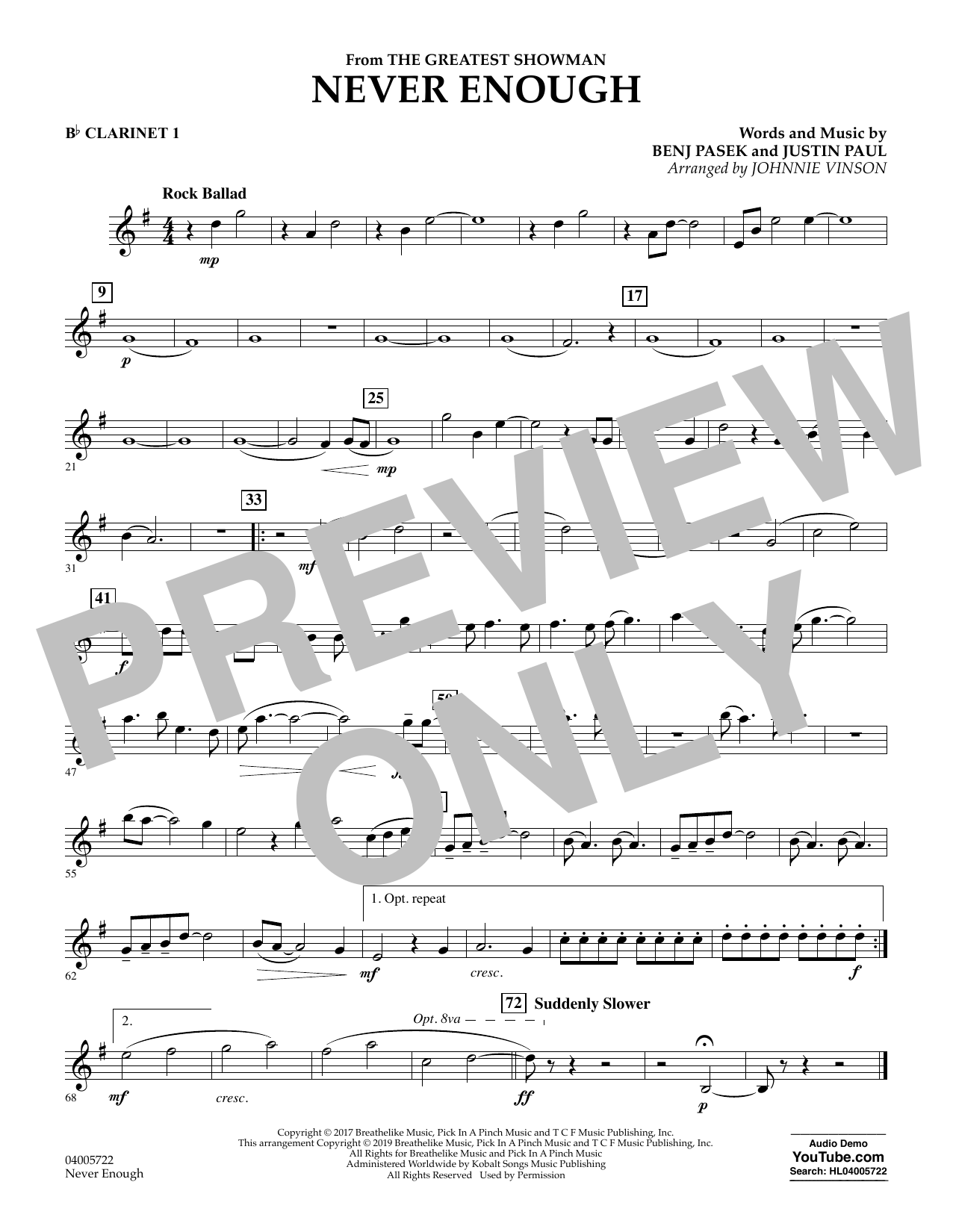 Never Enough (from The Greatest Showman) (arr. Johnnie Vinson) - Bb Clarinet 1 (Concert Band)