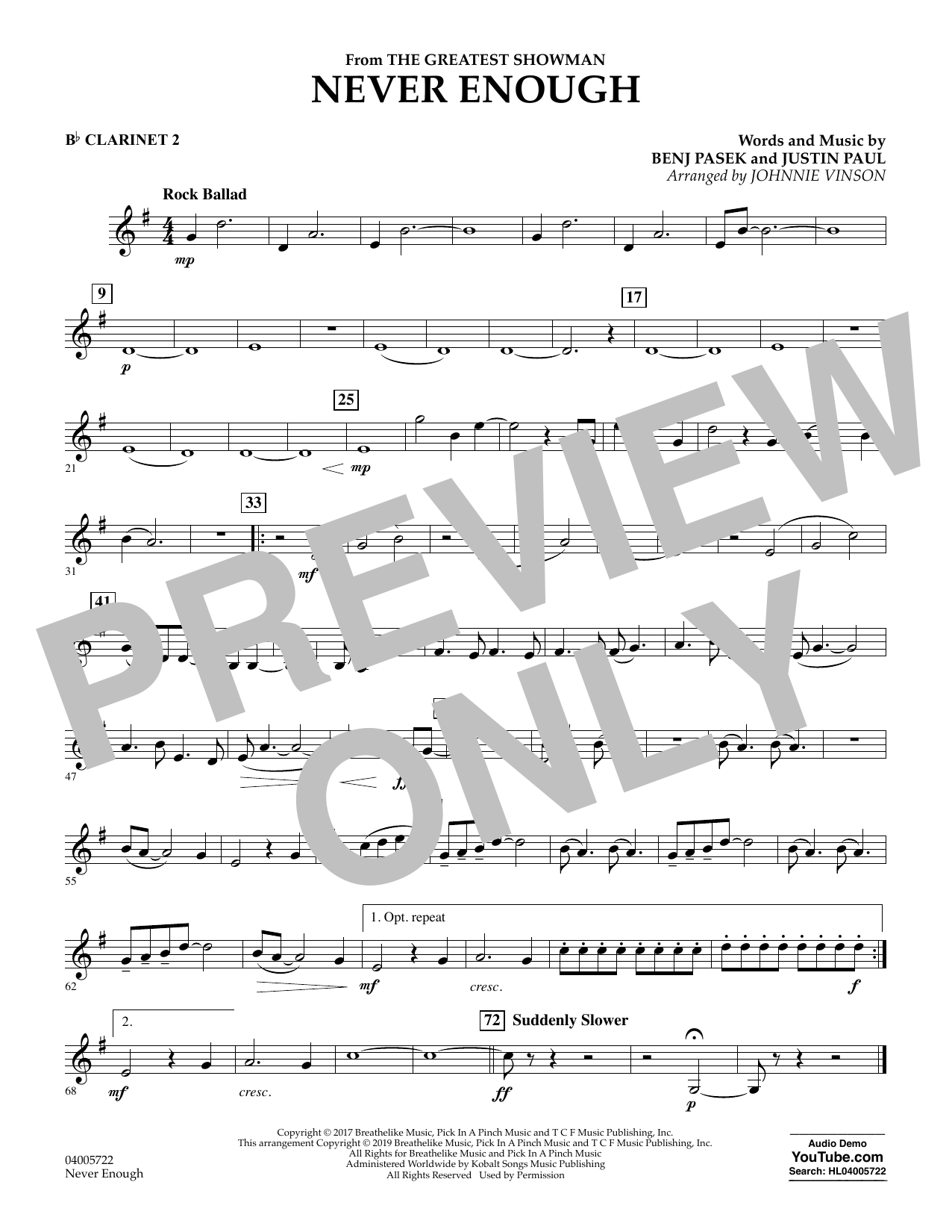 page one of Never Enough (from The Greatest Showman) (arr. Johnnie Vinson) - Bb Clarinet 2ASALTTEXT