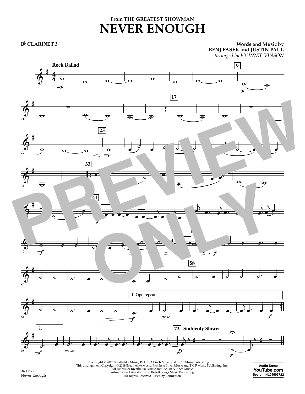 Never Enough (from The Greatest Showman) (arr. Johnnie Vinson) - Bb Clarinet 3 (Concert Band)