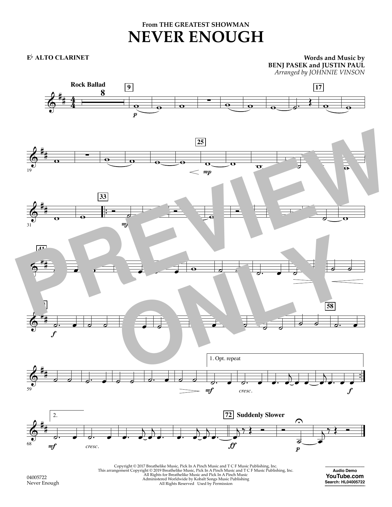 Never Enough (from The Greatest Showman) (arr. Johnnie Vinson) - Eb Alto Clarinet (Concert Band)