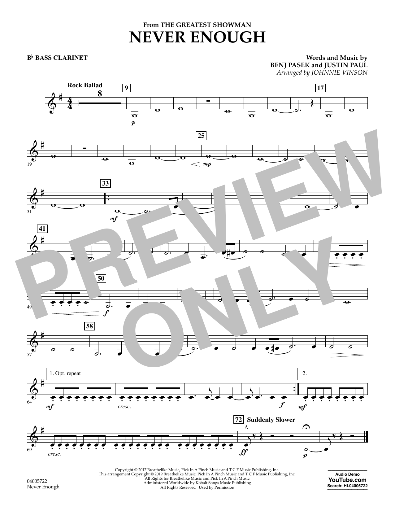 Never Enough (from The Greatest Showman) (arr. Johnnie Vinson) - Bb Bass Clarinet (Concert Band)
