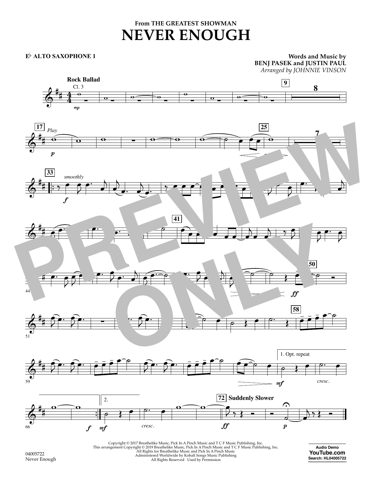 Never Enough (from The Greatest Showman) (arr. Johnnie Vinson) - Eb Alto Saxophone 1 (Concert Band)