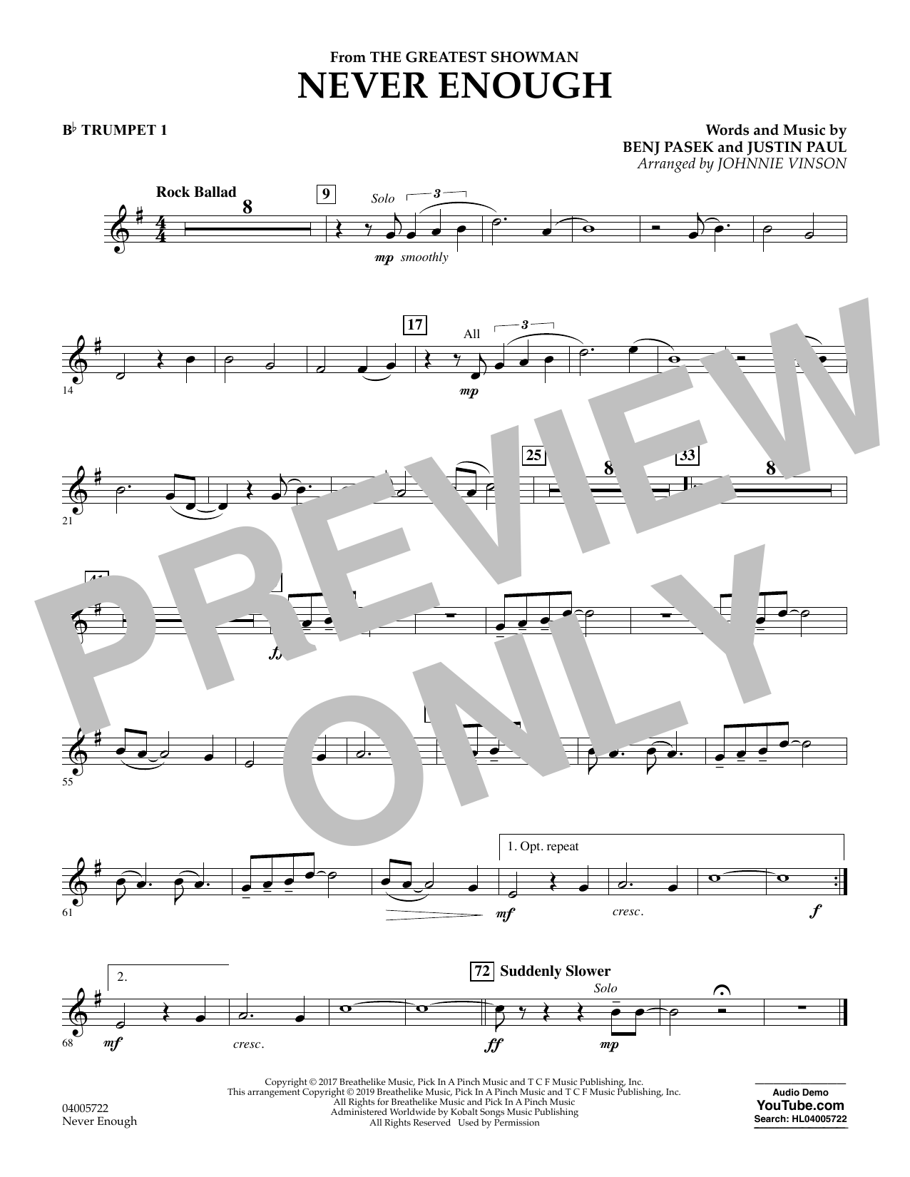Never Enough (from The Greatest Showman) (arr. Johnnie Vinson) - Bb Trumpet 1 (Concert Band)